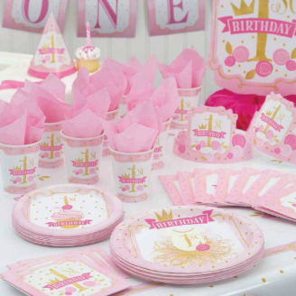 First Birthday pink with gold accents on plates cups napkin and decorations