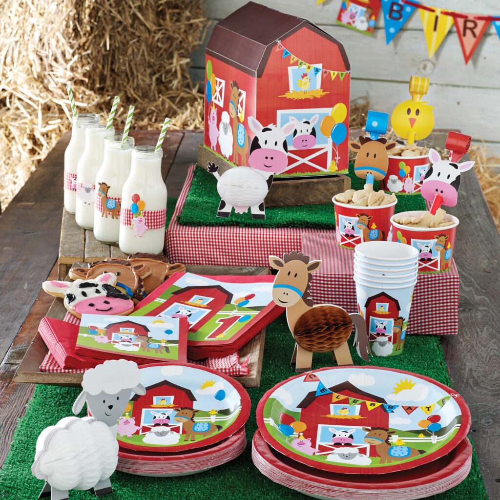 farm animals on plates napkins cups and decorations - red