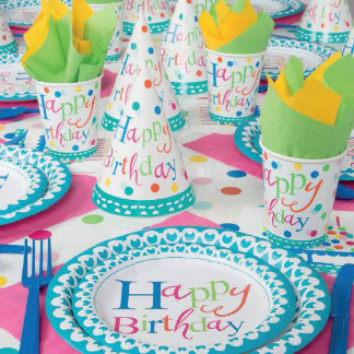 colorful confetti Happy Birthday on plates hats cups