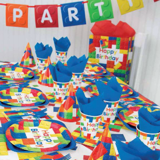 building blocks multi-color on gift bags, plates, cups, hats