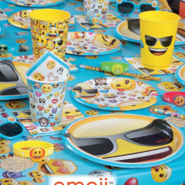 emoji faces on plates cups napkins stickers and other party decorations