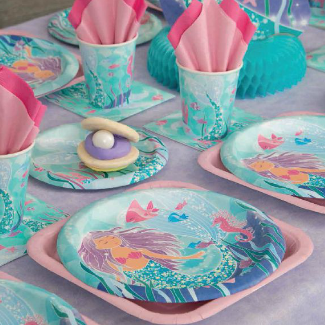 mermaid art on plates and cups and napkins