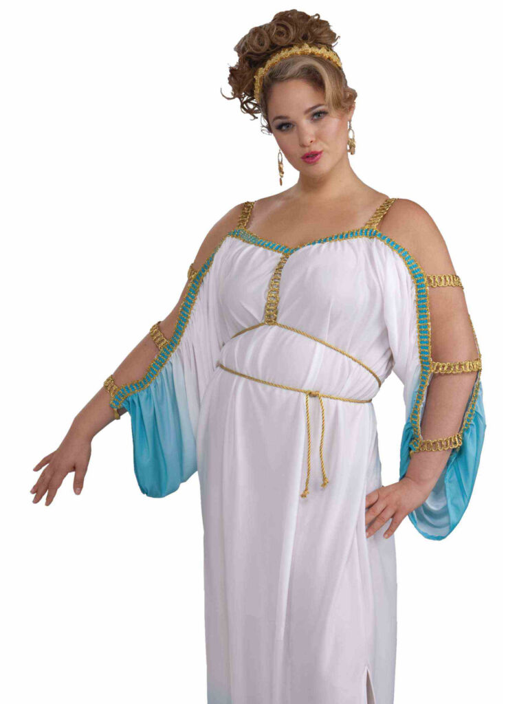 adult female in greek goddess dress with gold ropes
