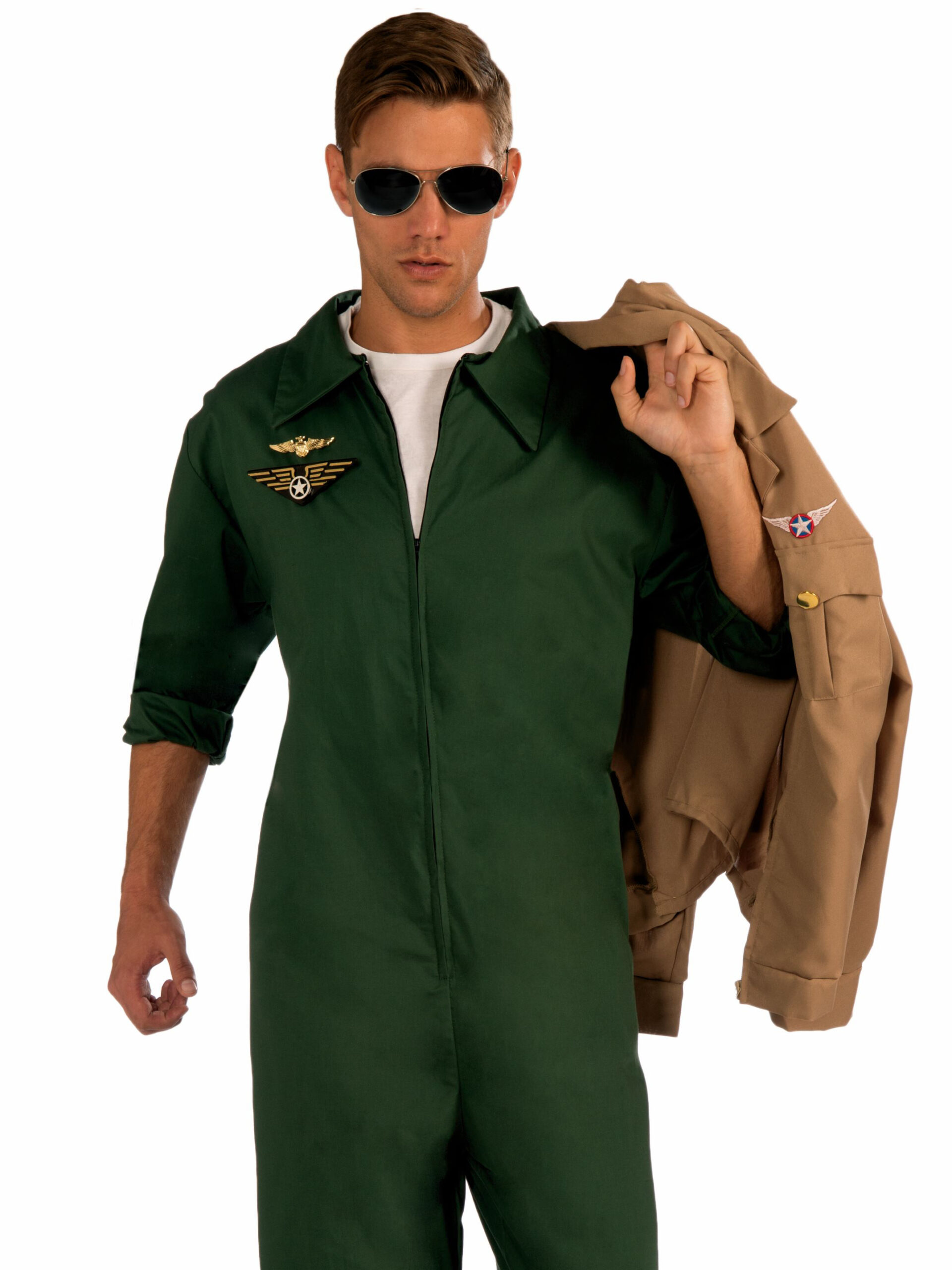 adult male in green fighter pilot jumpsuit with bomber jacket