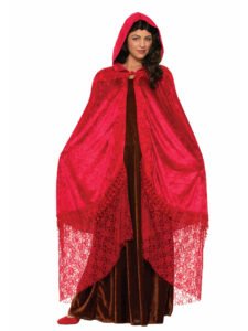 Lady in black velvet dress with red hooded cloak