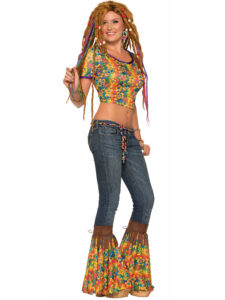 adult female in bell bottoms and crop top with dred locks