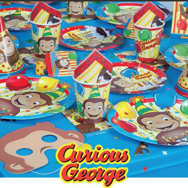 curious george masks plates table cloth cups and napkins