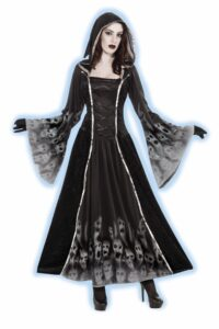 adult female in black renaissance style dress with ghosts and hood and black gloves and scary makeup