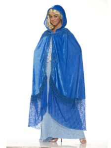 adult female in fairy godmother dress and blue velvet hooded cloak