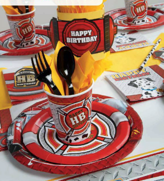red fire hydrant on plates napkins cups and decorations with yellow napkin accents
