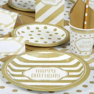 Gold Happy Birthday stripes and polka dots plates cups napkins