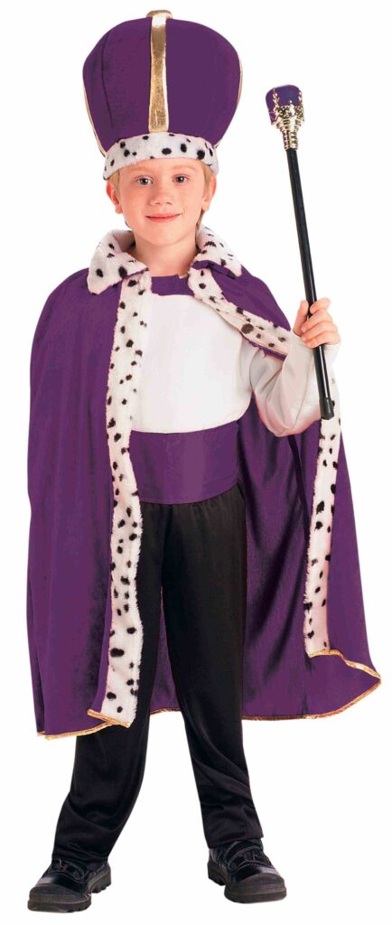 little boy in purple robe and crown with scepter