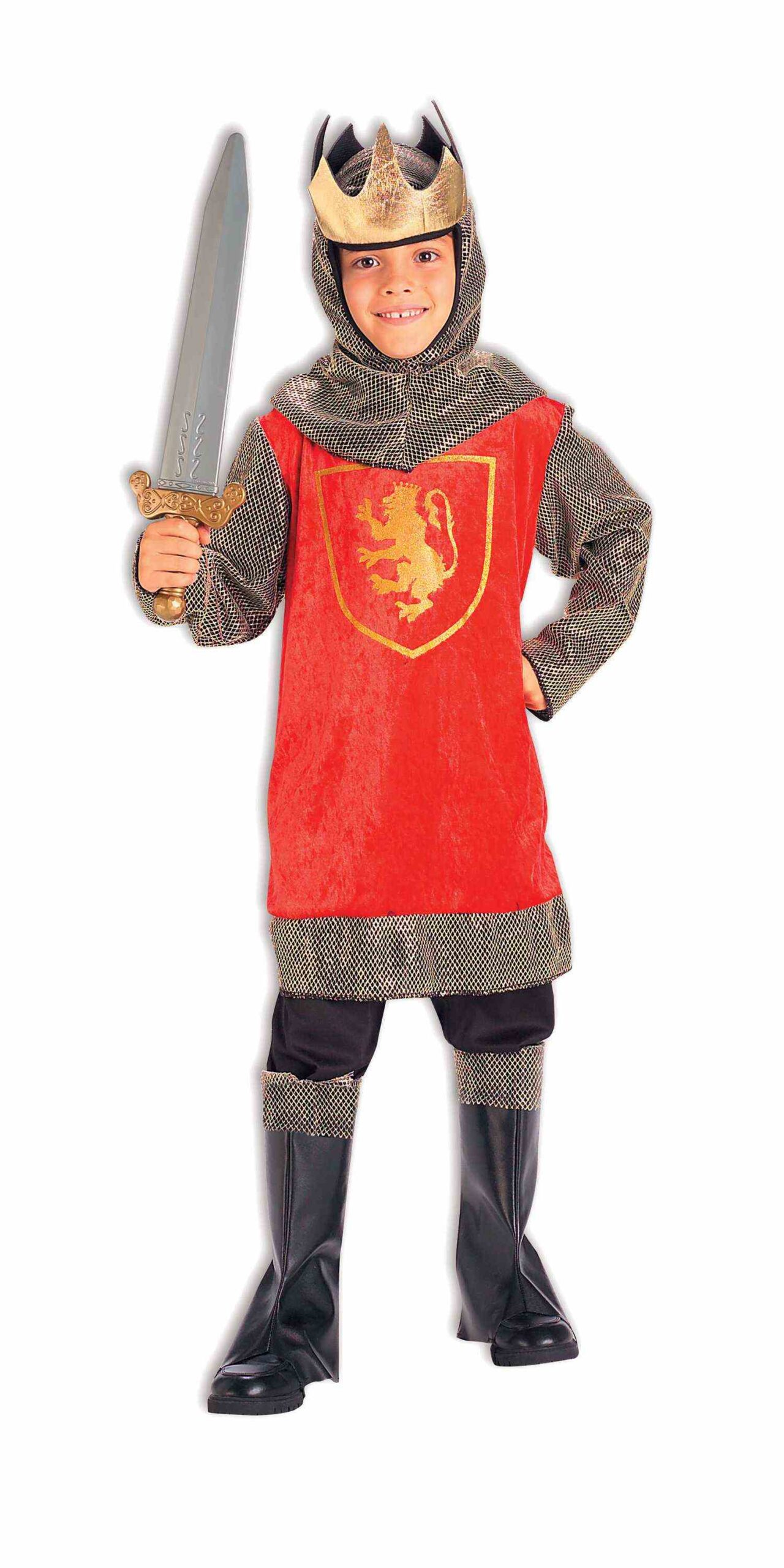 Little boy in red british knight costume with chain mail and sword