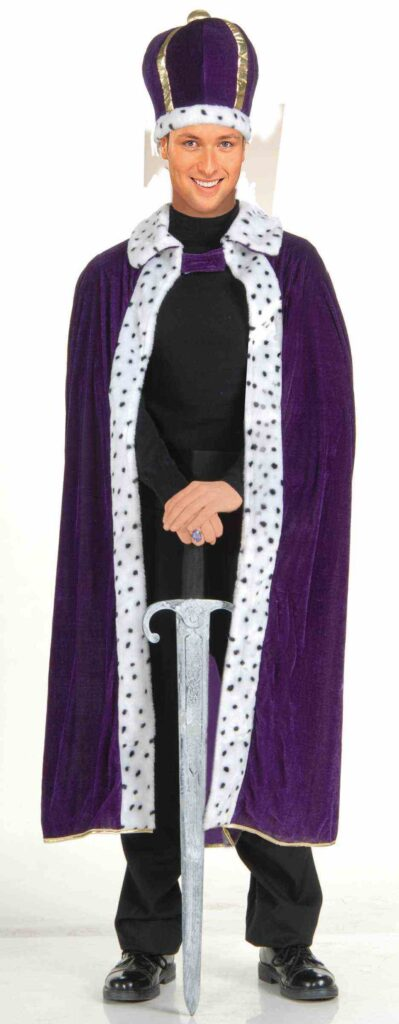 adult male in purple crown and robe with sword