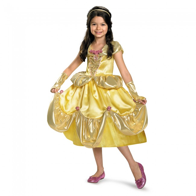 little girl in disney princess belle from Beauty and the Beast dress costume