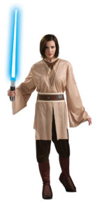 adult female in casual princess leia costume with light saber