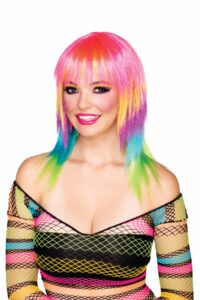 adult female with rainbow shag layered wig and rainbow fishnet dress