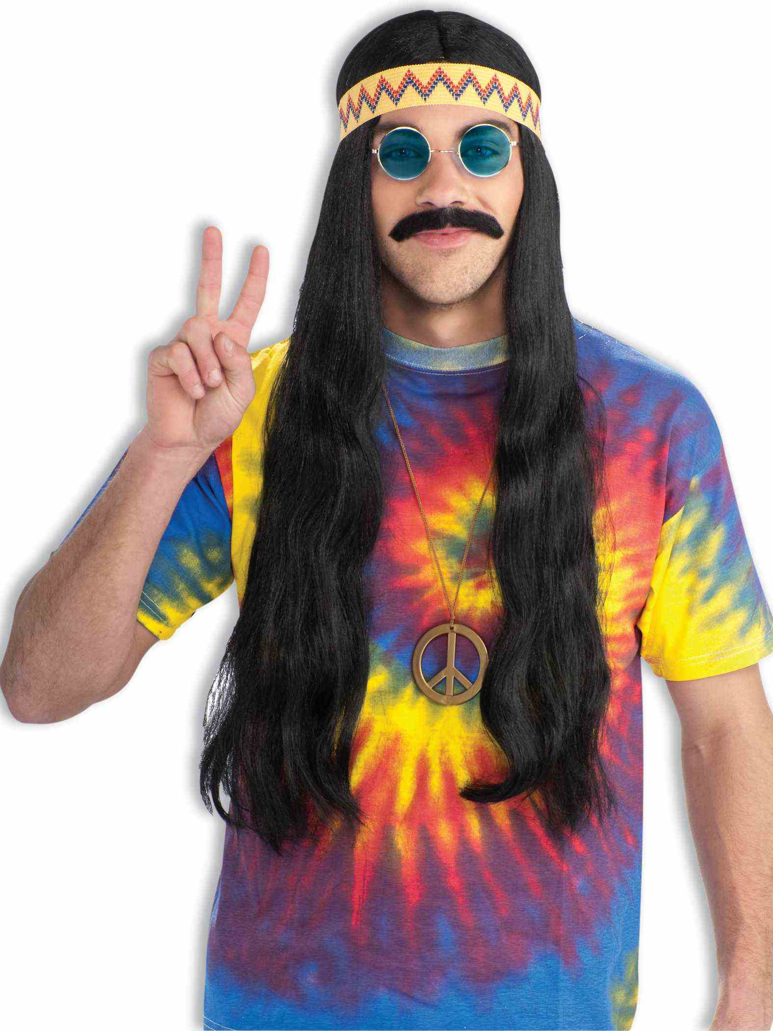 Adult guy with tie dye shirt and peace medallion long hair black wig with headband and hippie glasses