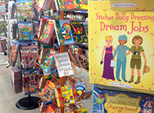 Kids activity books on the shelves at Diddams
