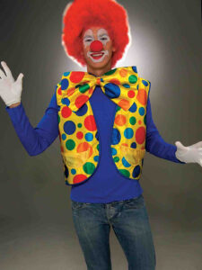 adult male in clown makeup and red wig red nose and polka dot vest and huge polka dot bow tie and white gloves