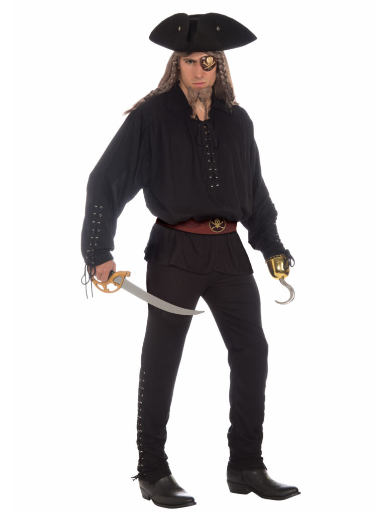 adult male in black pirate costume eye patch pirate hat hook and sword