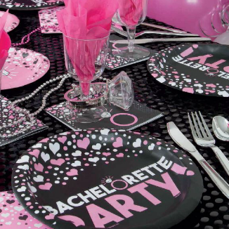 Pink bachelorette party on black plate napkins and table cloth