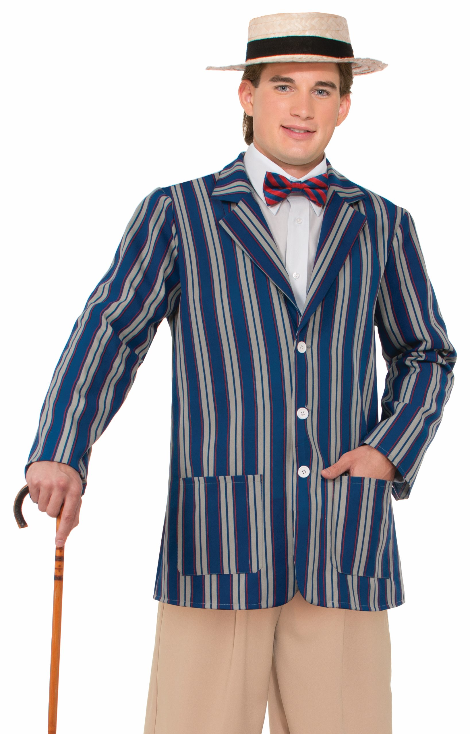 man in barbershop quartet suit with bowtie boat hat and cane