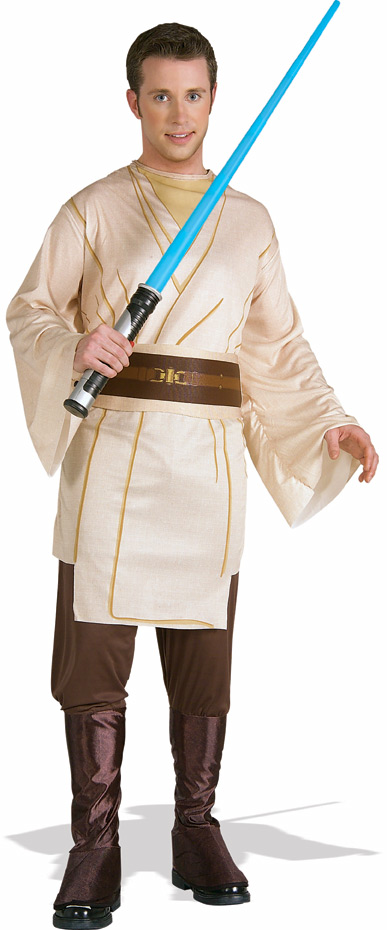 man in jedi costume with light saber