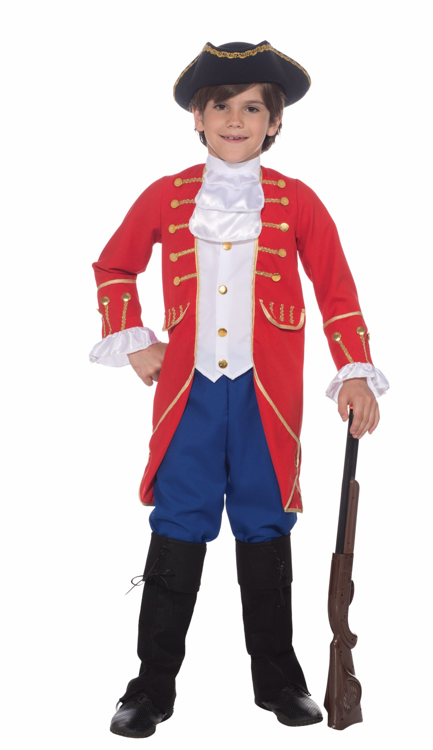 little boy in classic new england patriot costume with rifle hat and boots