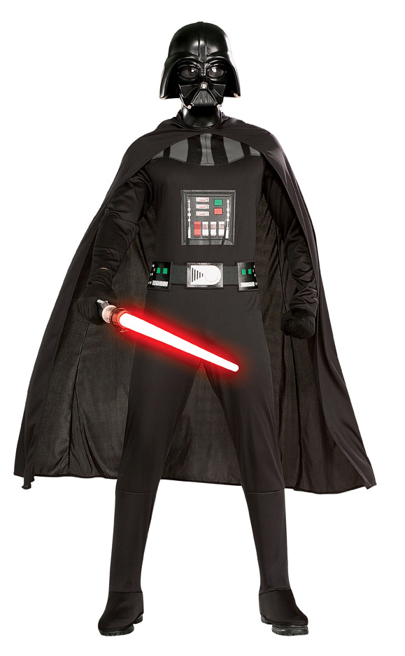adult in darth vader costume with light saber