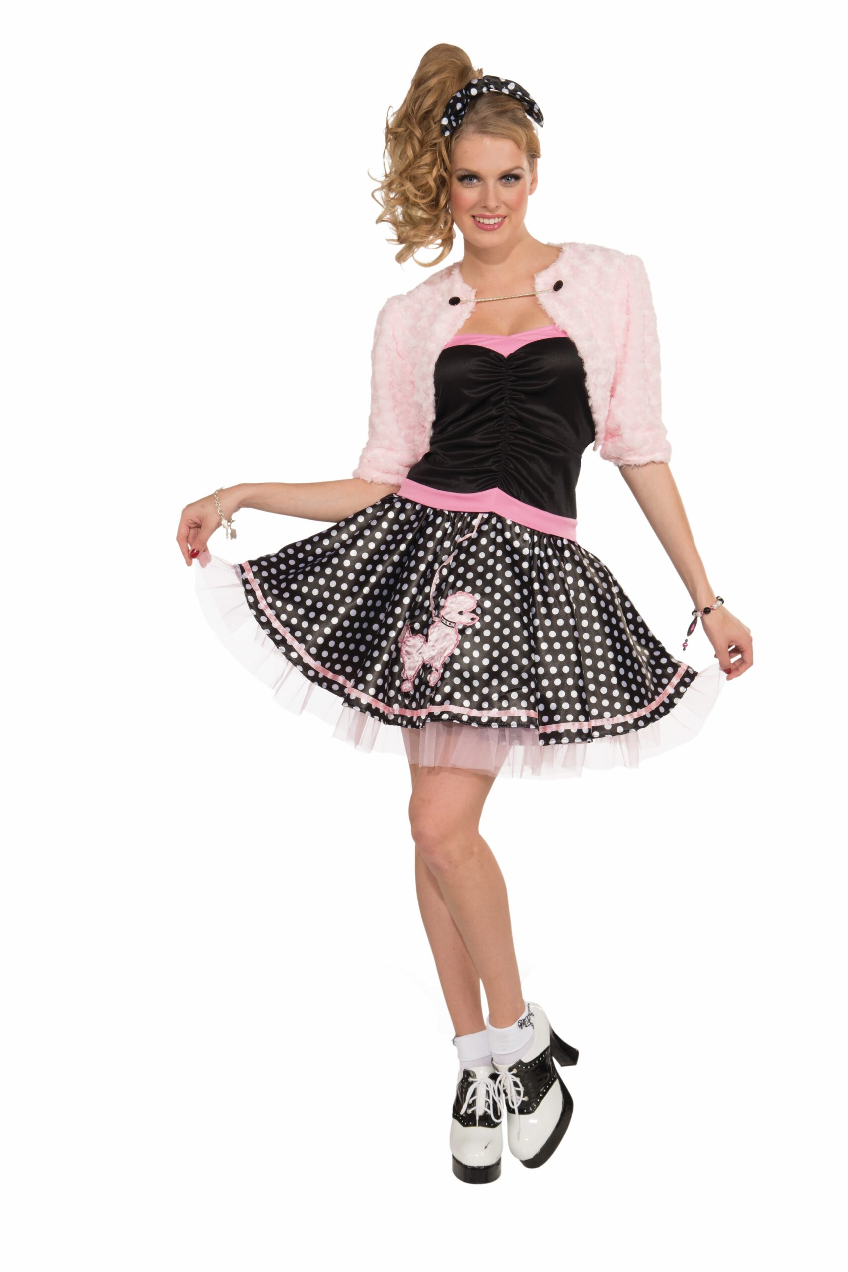 adult female in 60s style sock hop poodle skirt and saddle shoes