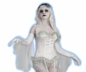 adult woman in flowy white sleeved boustier with garterns and lace white wig and ghoul-like makeup