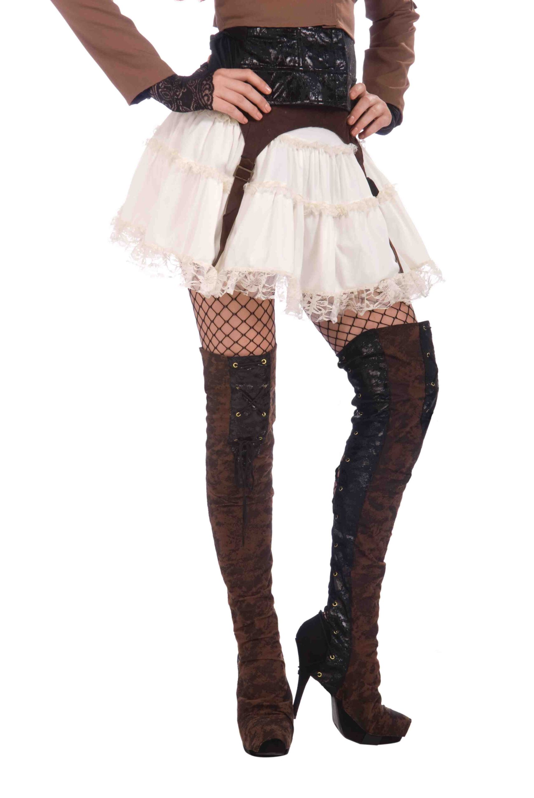 adult female in hip stiletto boots with fishnet stockings hands on hips and garter belts and short lace skirt costume