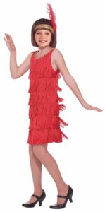 little girl in red flapper costume with feather headband