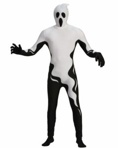adult in a full body suit ghost costume black and white with socks and gloves