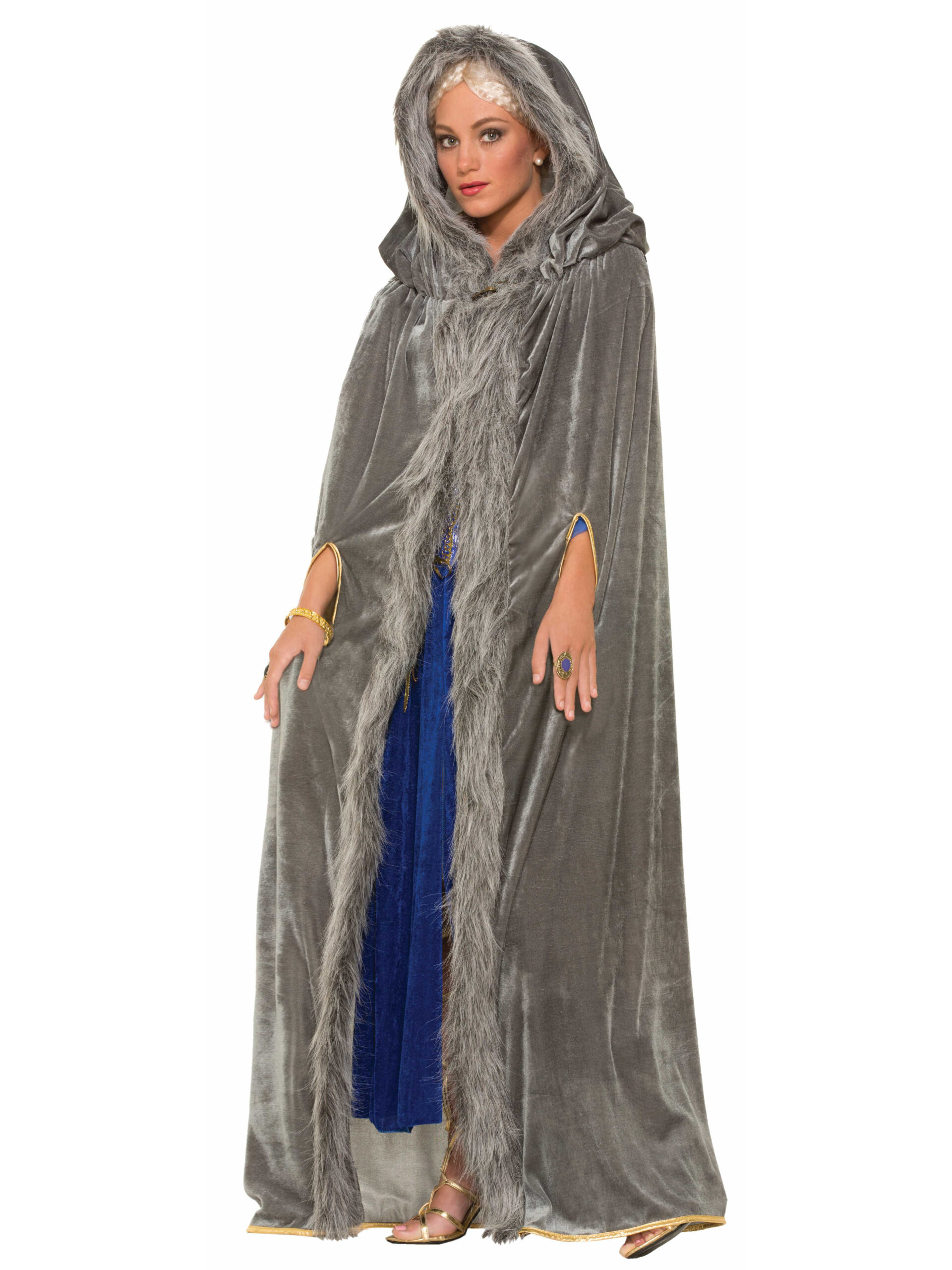 adult female in blue dress and hooded fur cloak costume