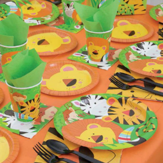 lions tigers zebras and toucans with orange accents on plates cups napkins