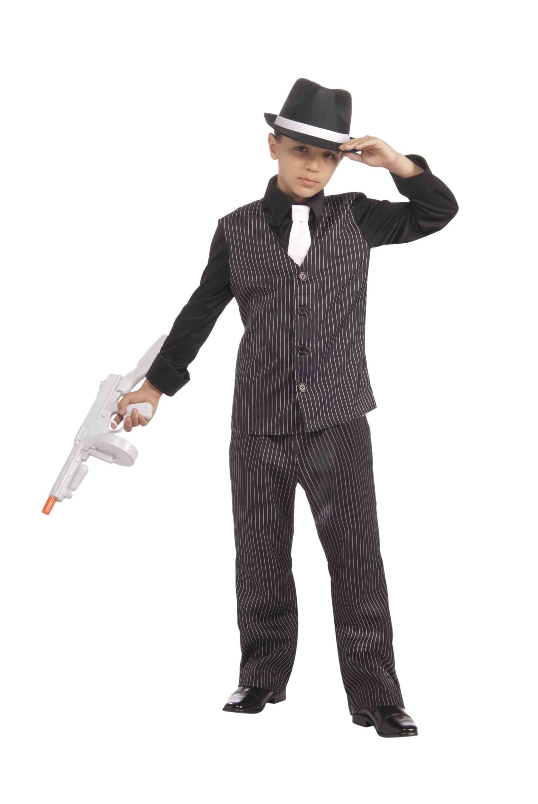 little boy in pinstripped suit with hat and tommy gun