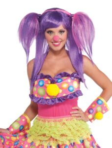 Lady in clown costume with dress purple wig pink nose