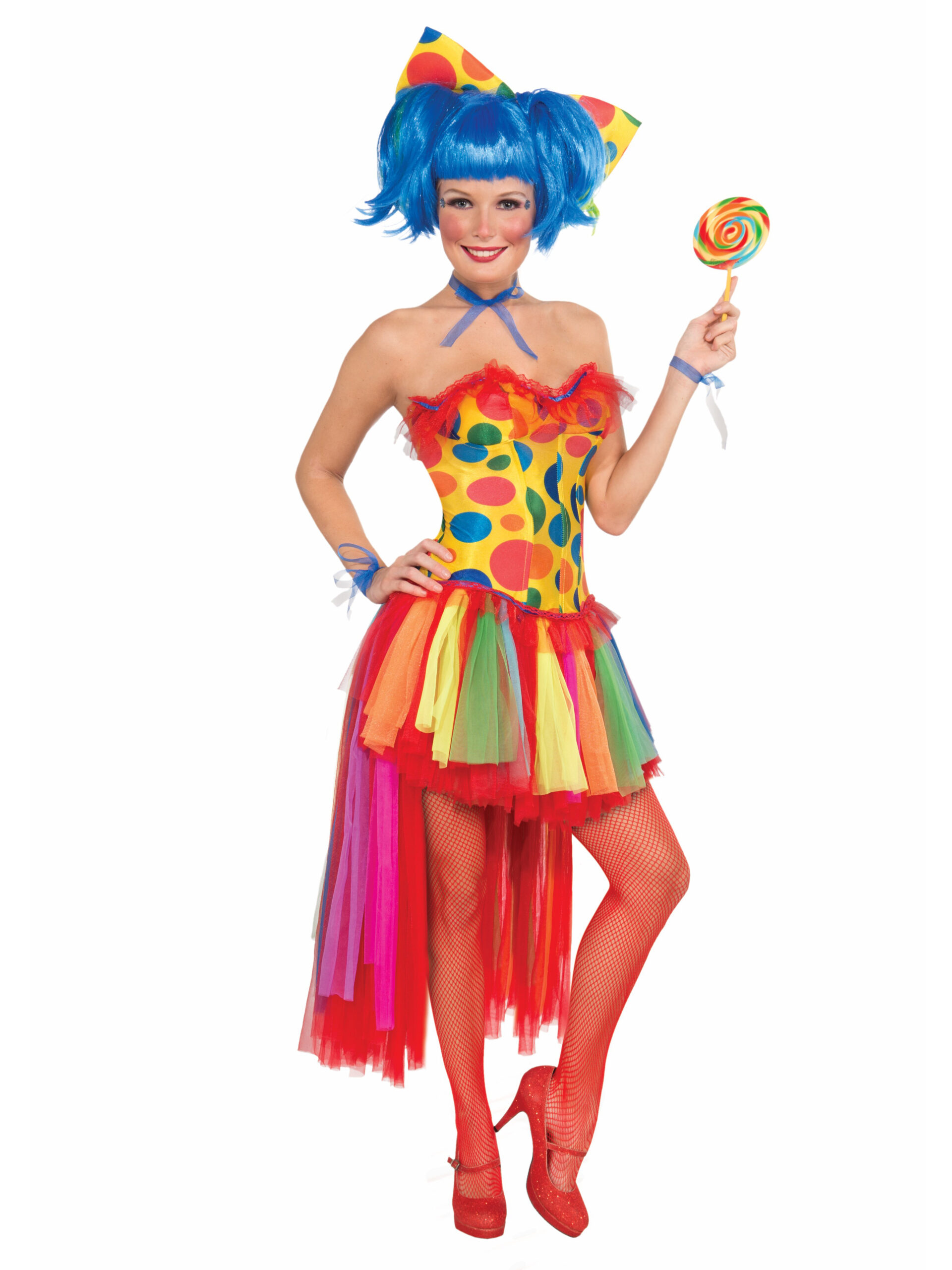 adult lady in strapless clown boustier with colorful polka dots and rainbow tutu skirt holding lollipop with blue wig and big polka dot bow