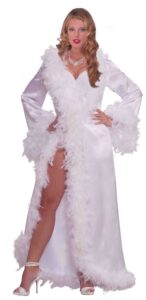 adult female in white dress diamond necklace bejeweled stiletto heels and feathers