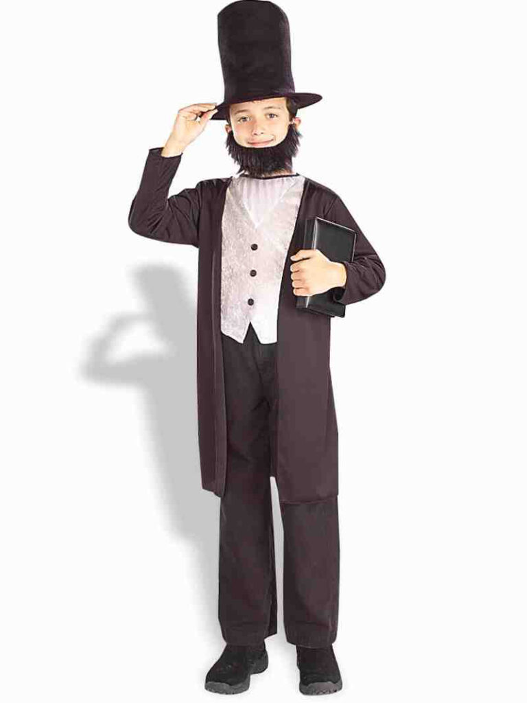 little boy in abraham lincoln costume with top hat and beard