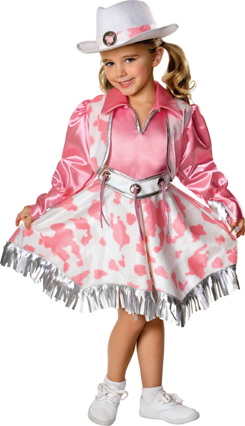 little girl in pink cow print cowgirl dress and hat