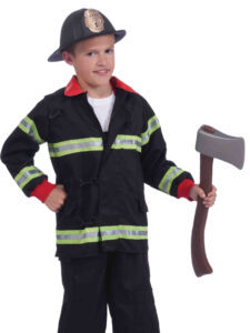 little boy in fire fighter costume and hate and ax