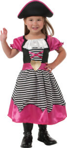 little girl in pink and black pirate dress with hat