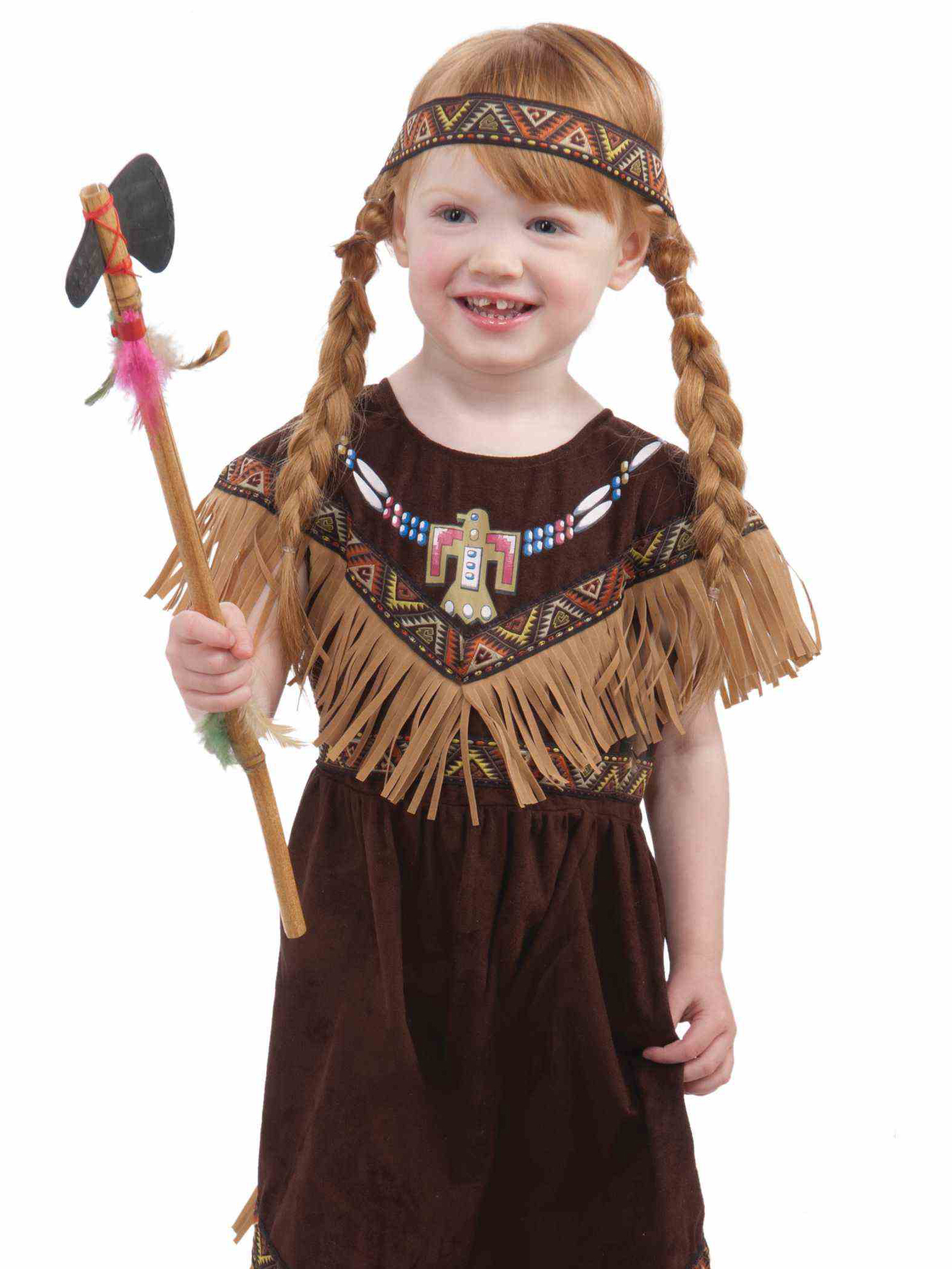 little red headed girl wearing pocahontas costume with fringe and ax