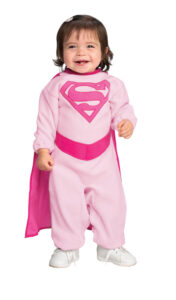 toddler girl in supergirl onesie with cap (pink)