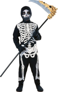 little boy in grim reaper outfit with skeleton on it