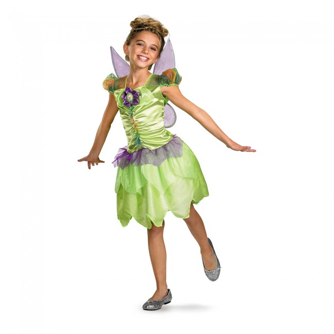 little girl in green tinkerbell fairy costume with wings