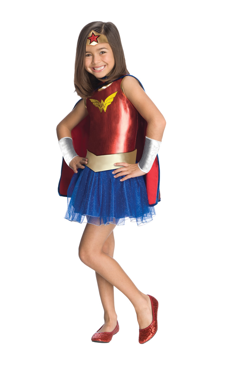 little girl in wonder woman tutu with cape and crown